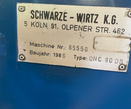 Used Schwarze Wirtz CNC 80 DNB Tube Bender